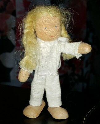 "Kathe Kruse 4.25"" Poseable Blonde Girl w Braids Doll Made of Wood Wire Fabric"
