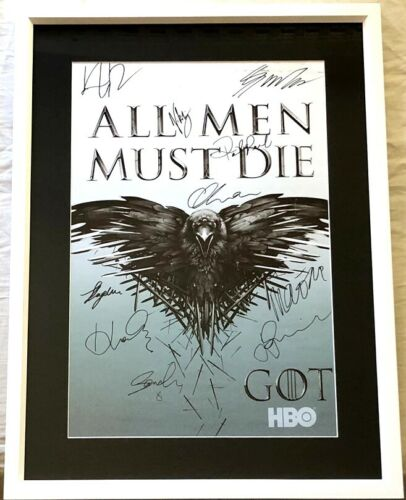 Game of Thrones cast signed 2014 SDCC poster framed Kit Harington George Martin