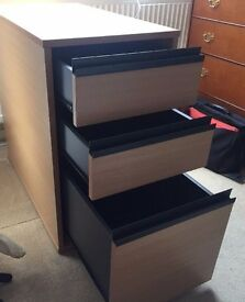 3 Drawer Wooden Filing Cabinet Office Desk Furniture With Lock 75cm x 41cm x 70cm