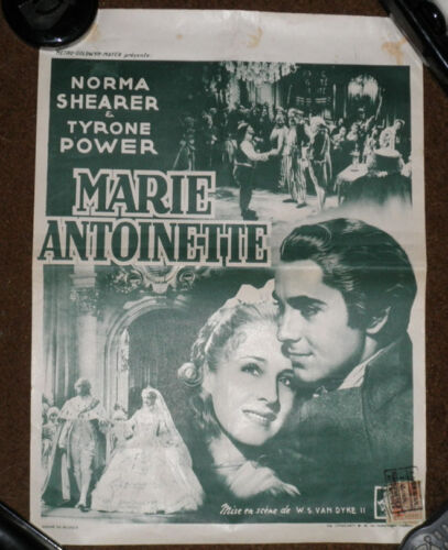 NORMA SHEARER TYRONE POWER Marie Antoinette Belgian 1950s Poster