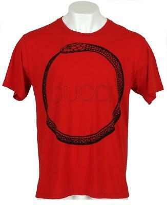 NEW GUCCI MEN'S RED BLACK COTTON SNAKE RING LOGO T-SHIRT M/MEDIUM