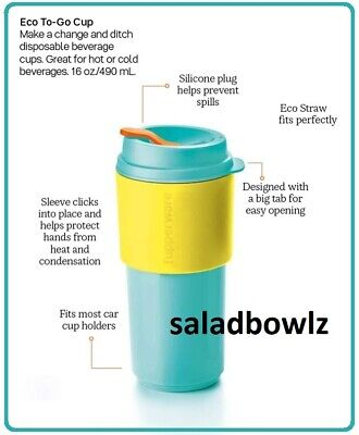 TUPPERWARE New 16oz ECO TO GO CUP Reusable Hot or Cold Beverages Aruba Sunkissed