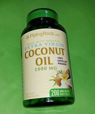 Aceite Coco Organico 1000 mg 200 perlas Piping Rock