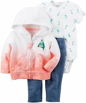 Carter's NWT 9M 18M Infant Girl Bird Little Jacket Bodysuit Pant Set $30 Chick Infant Bodysuit