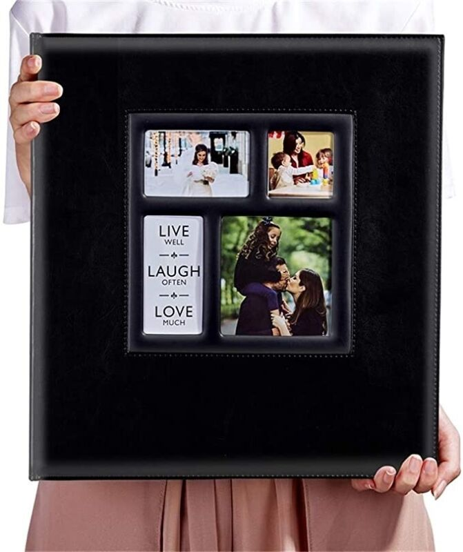 Huge Photo Album 600 Capacity 4x6 Photos Faux Leather Family Wedding BLACK NEW