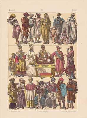 Indien Inder Fürsten Bauern Trachten LITHOGRAPHIE von 1883 - Tracht Von Indien