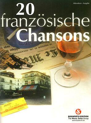 20 französische Chansons Songbook Noten für 1-2 Akkordeon(s)
