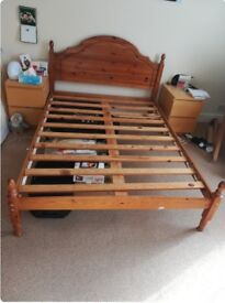 Solid pine double bed frame only