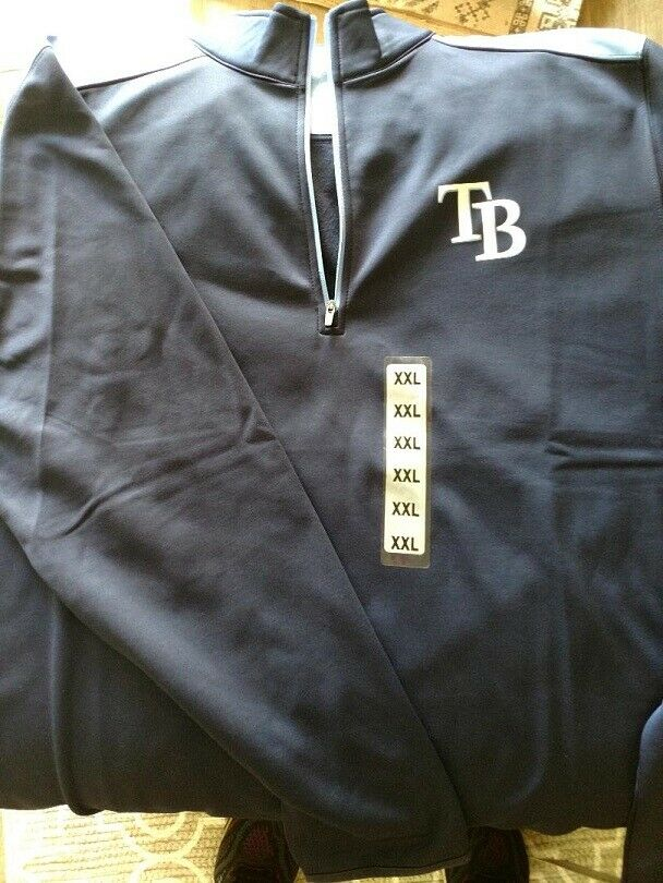 NEW - Tampa Bay Rays 1/4-Zip Fleece Lined Mock Neck Pullover
