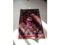 RED MULTI COLOURED PERSIAN RUG 120CM LONG X 78CM WIDE