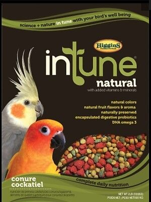 Higgins Intune Conure Cockatiel pellet diet, bird food 2lb