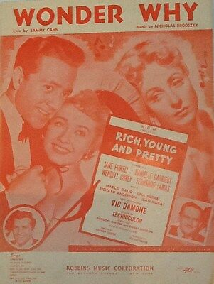 "JANE POWELL ""WONDER WHY"" SHEET MUSIC 1951 rich, young and pretty robbins"