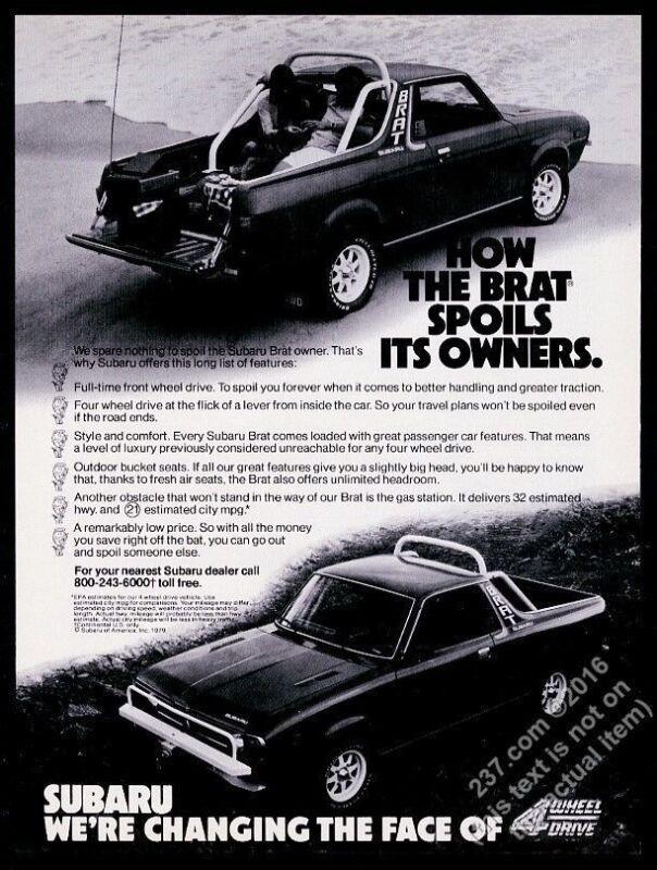1979 Subaru Brat 2 photo vintage print ad
