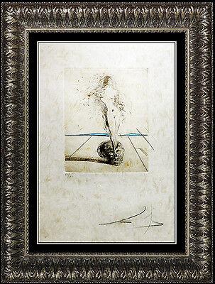 Salvador Dali Authentic Color Etching HAND SIGNED Nude Female Portrait Vanite