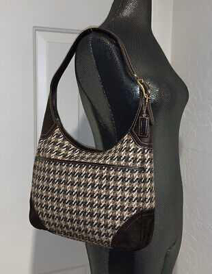 Coach F10279 Brown Houndstooth Tweed Suede Leather Hobo Shoulder Bag -