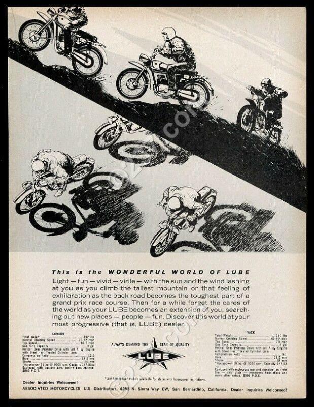 1965 Lube motorcycle illustrated vintage print ad