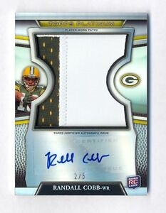 RANDALL COBB 2011 TOPPS PLATINUM REFRACTOR AUTO JUMBO SUPER PATCH #2/5 PACKERS