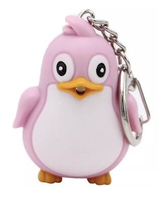 Penguin Pink Keychain LED Light Up With Sound 5cm US - Penguin Keychain