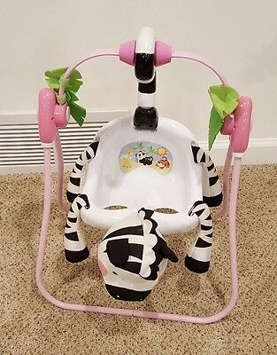 Fisher Price Tolly Tots Pretend Baby Doll Swing Pink Zebra
