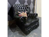 Stunning Refurbished Chesterfield Monk Back Arm Chair in Green Leather - Uk Delivery