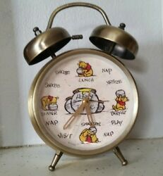Disney Winnie The Pooh Hunny Time Brass-Colored Finish Twin Bell Alarm Clock
