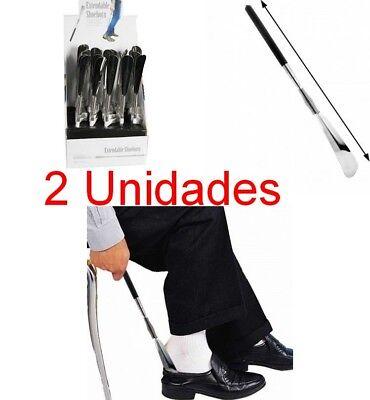 Pack 2 x Calzador de Zapatos metalico Extensible 32 a 80 cm,empuñadura...