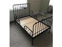 Quality Ikea Black Wrought Iron Metal Toddler Children Kids Extending Bed Mattresses Nursery Parents