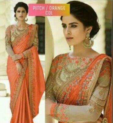 Indian Wedding Wear Saree Designer Bollywood Embroidery Work Sari Blouse Fancy