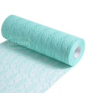 Lace table runner rolls -  mint green  35 yards wedding