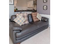 Genuine Dark Brown Leather Sofa, Armchair and Storage Footstool