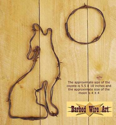 Coyote & Full Moon - southwestern hanging barbed wire art western decor wall](Southwestern Decor)