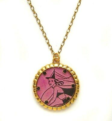 Maximal Art Halloween Necklace John Wind Witch Silhouette Purple Gold Jewelry