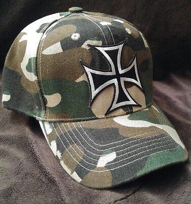 Iron Cross Hat (IRON CROSS Camouflage Baseball Silver Gothic Iron Cross Camo Hat)