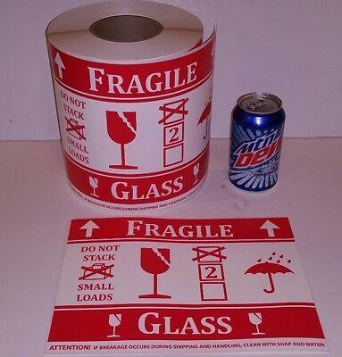 500 Jumbo Large - Fragile Glass Intl Symbol Stickers Labels Pallet Size Warning
