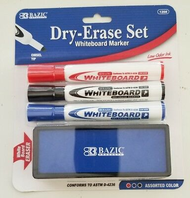 Bazic White Board Marker 3 Assorted Color Chisel Tip Dry Erase Markers Weraser