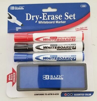 BAZIC WHITE BOARD MARKER 3 Assorted Color Chisel Tip Dry Erase Markers w/Eraser Tip Whiteboard Marker