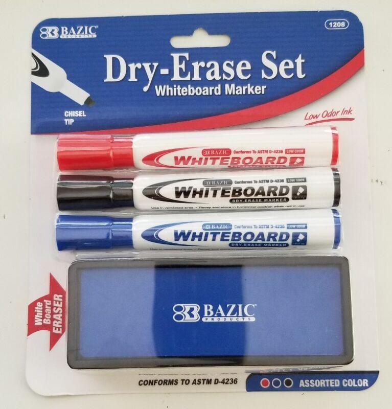 BAZIC WHITE BOARD MARKER 3 Assorted Color Chisel Tip Dry Erase Markers w/Eraser