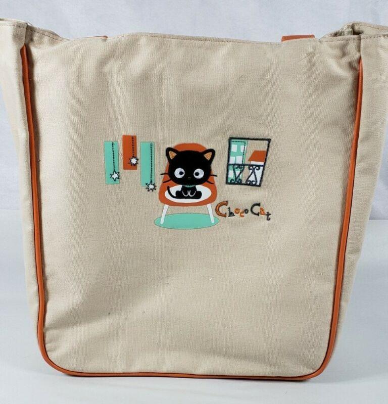 Sanrio Choco Cat Tote Bag Tan Canvas Chococat Bag ~ 2004 Nakajima, USA