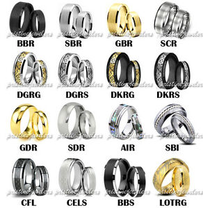 Details about his and her tungsten set silver gold black wedding band