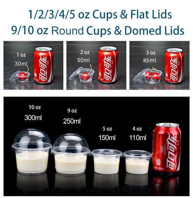 1/2/3/4/9 oz Jello Shot Souffle Portion Cups W/ Domed Lids Option Clear Plastic  - Souffle Cups