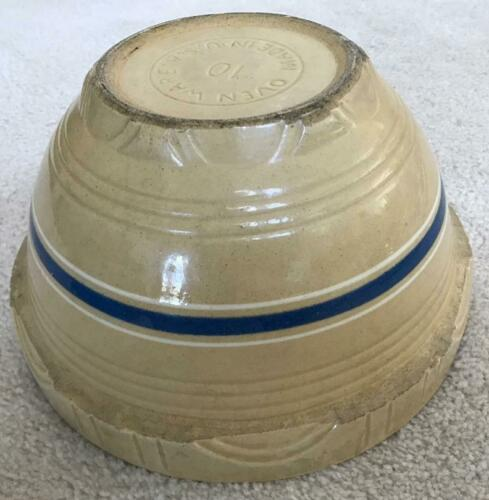 RARE  ANTIQUE WATT POTTERY OVENWARE NUMBER 10  STRIPED USA OVEN WARE MIXING BOWL