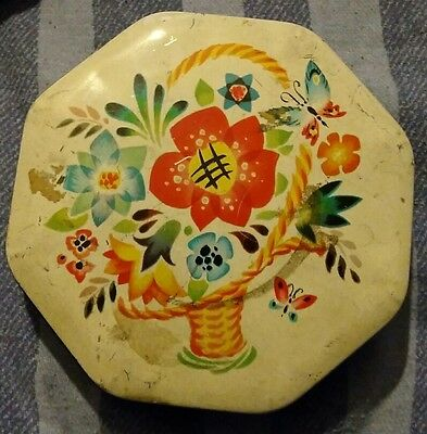 Vintage Octagonal Tin Designed with a Basket of Flowers