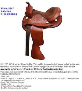 """12"""" inch Youth Pony Western Saddle QH Bars Leather New $247 DEAL"""