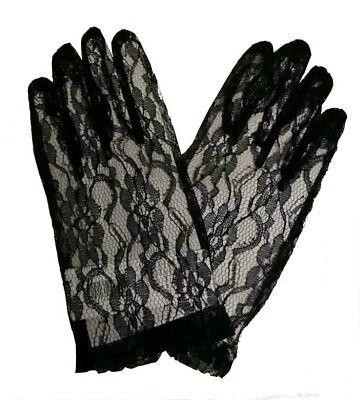 Schwarze Spitzen-handschuhe (IAL 6302643 Kurze Spitzenhandschuhe schwarz Handschuhe Spitze Blumen Muster)