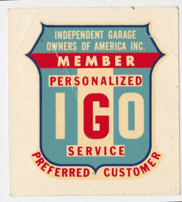 IGO MEMBER Garage Owner's of America Vintage Water Decal Car Window Sticker for sale  Shipping to South Africa