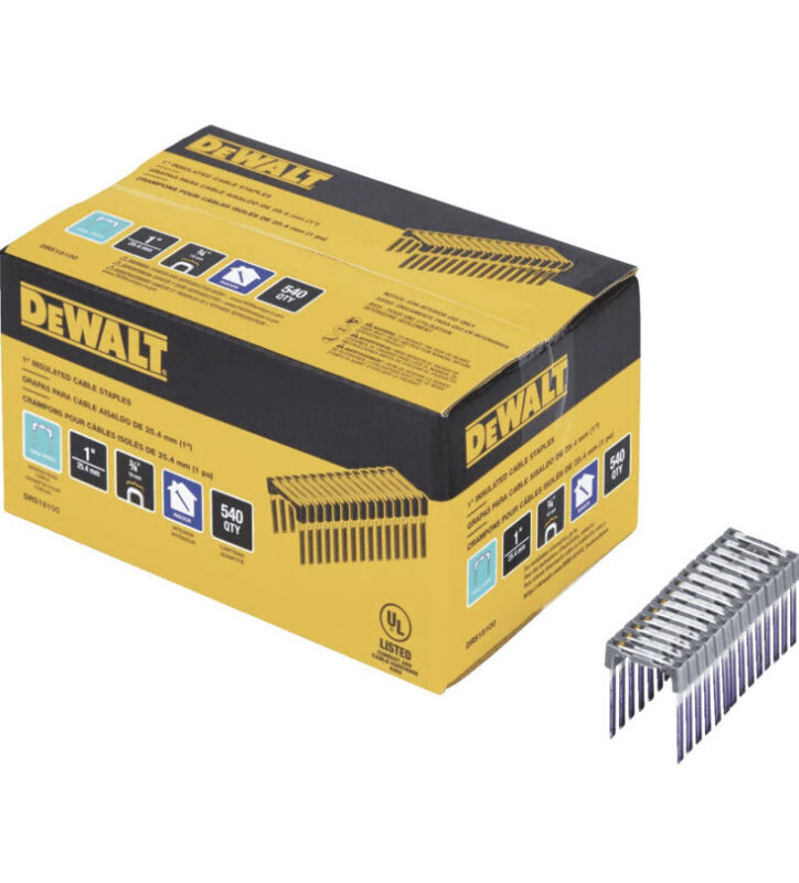 "Genuine Dewalt DRS18100 1"" Insulated Cable Staples for DCN701 Stapler NEW"