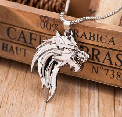 Wolf Head Stainless Steel Silver Pendant Necklace for Men Punk Fashion Jewelry - Wolf Pendant