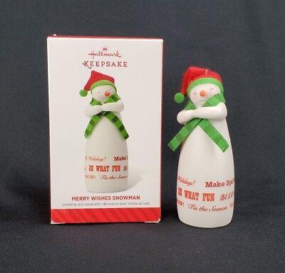 Merry Wishes Snowman Hallmark Keepsake 2014 Ornament Limited Edition