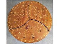 VINTAGE MOROCCAN HAND-CARVED WOODEN 3 PIECE ROUND COFFEE TABLE. £270
