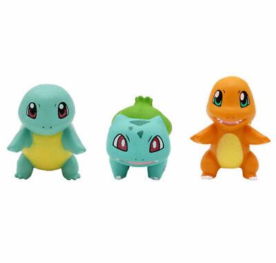 Anime 3pcs/Set Pokemon Bulbasaur Charmander Squirtle Figure Figurine